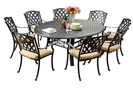 Groovy Darlee 201630 9Pc 99Ld Ocean View Cast Aluminum 9 Piece Round Dining Set And Cushions 71 Antique Bronze Download Free Architecture Designs Intelgarnamadebymaigaardcom