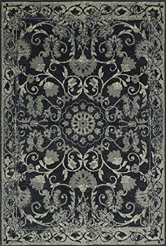 Super Area Rugs Black Rug Traditional, 4-Foot 11-Inch X 7-Foot 5-Inch Soft Medallion Border Rustic Distressed Vintage Antique