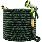 VIENECI 100ft Garden Hose Expandable Hose, Durable Flexible Water Hose, 9 Function Spray Hose Nozzle, Solid Brass Connectors,