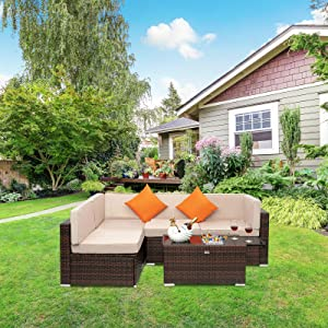 VINGLI 5 Pieces Wicker Outdoor Patio Furniture Set with Cooler Table, All-Weather Rattan Patio Conversation Set with Cushions and Pillows, Outdoor Sectional Patio Sofa Set (Brown)