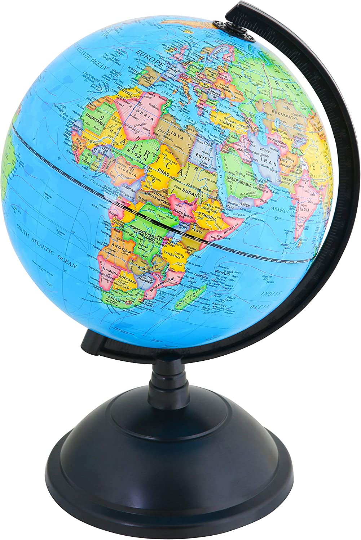 Exerz 20cm Globe - Garte Politique/ Décoration éducative/ géographique - pour l'école, la Maison et Le Bureau - diamètre 20cm - Anglais