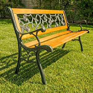 "Garden Bench Park Bench Outdoor Bench for Outdoors 50"" Metal Porch Chair Cast Iron Hardwood Furniture, 480LBS Weight Capacity, for Park Yard Patio Deck Lawn"