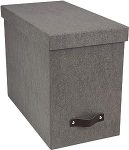 Bigso John Canvas Fiberboard Desktop File Storage Box, 10.2 x 7 x 13 in, Grey