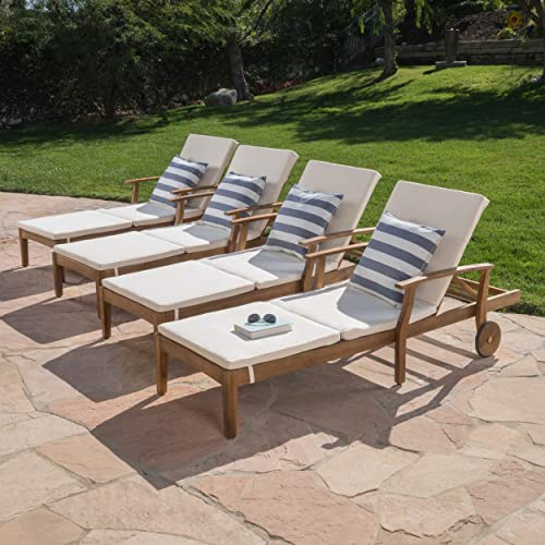 Great Deal Furniture Daisy Outdoor Teak Finish Chaise Lounge with Cream Water Resistant Cushion Set of 4