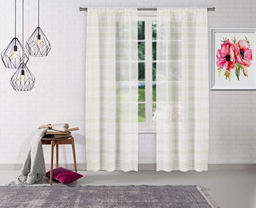Home Maison Dakota Pole Top Horizantal Striped Linen Textured Window Curtain Pair Drape