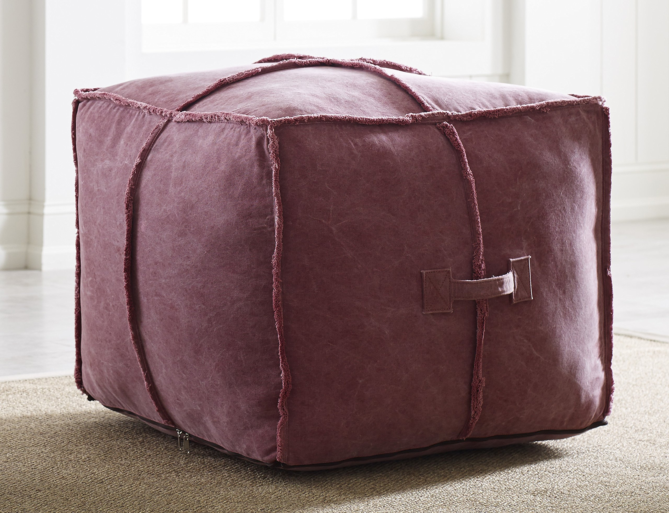 Tommy Hilfiger Doron Square Pouf in Red Stonewashed Canvas