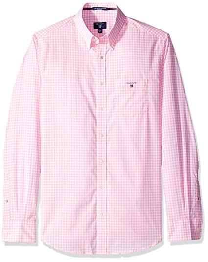 32ade1d9 Gant Broadcloth Gingham Regular Fit Shirt, Bright Pink, S: Amazon.co.uk:  Clothing