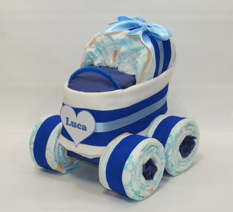 Windeltorte mit Windelkinderwagen XL-Reifen Bär Geburt-Taufe blau