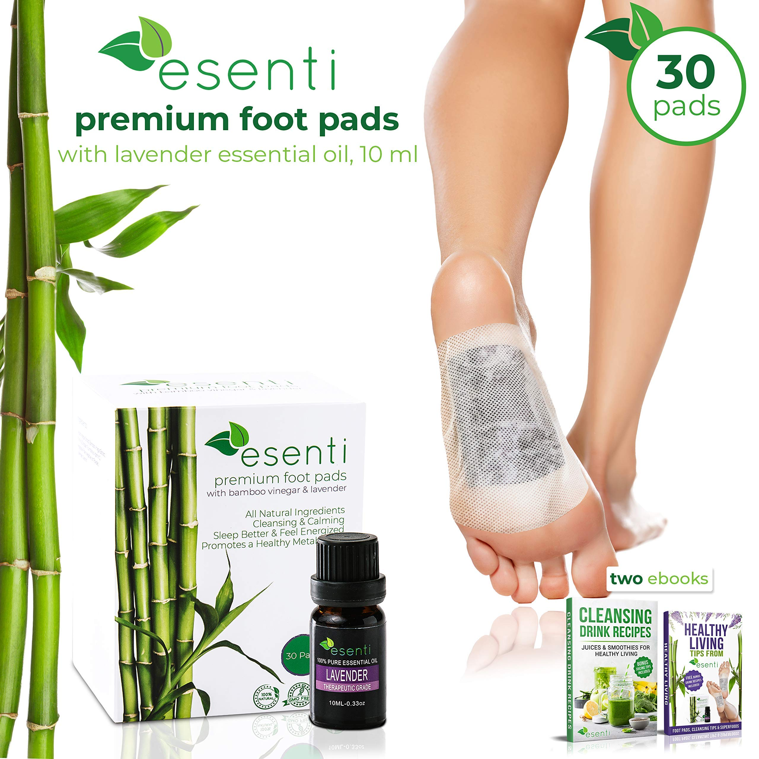 Foot Pads & Lavender Essential Oil | 100% All Natural Self Adhesive Cleansing Foot Pads | Relieve Stress & Improve Sleep | for Pain Relief & Foot Odor | 30 Pads | FDA Certified | Full Body Cleanse by Esenti