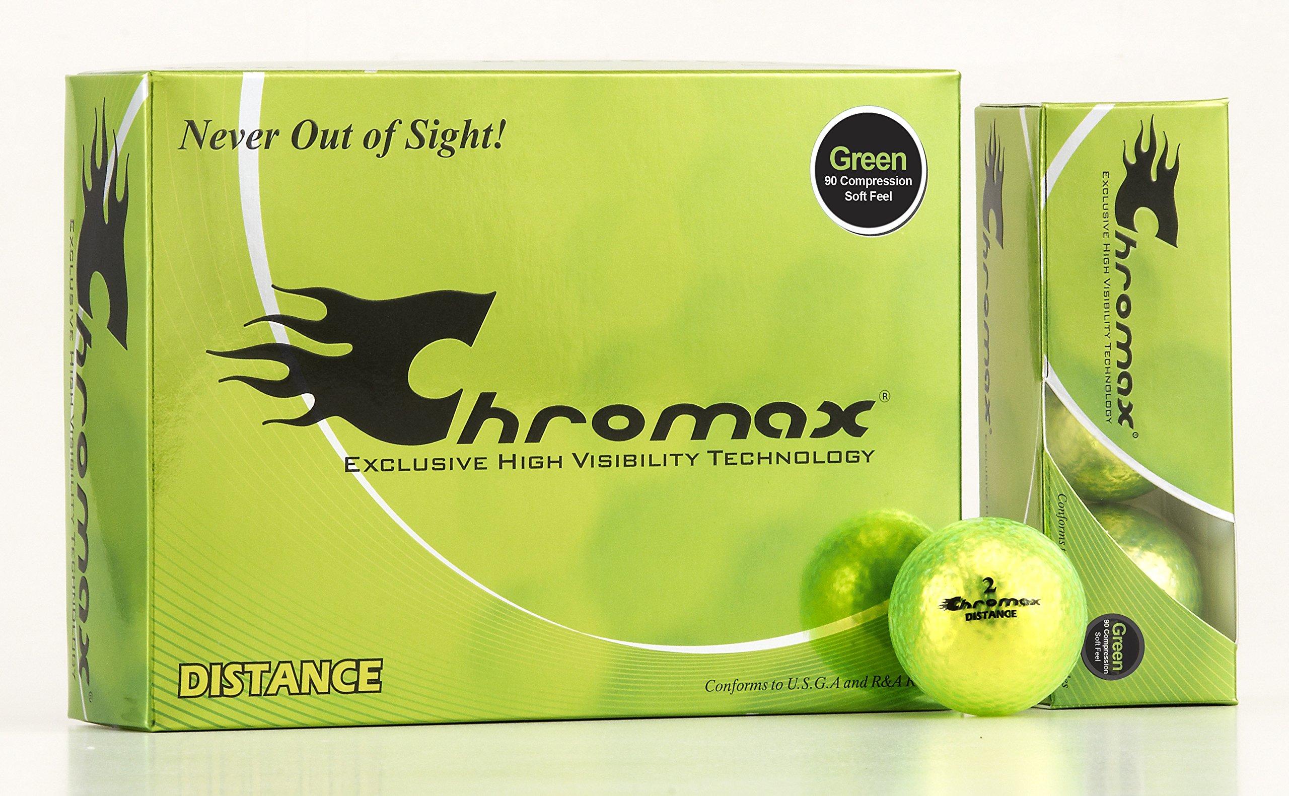 Chromax High Visibility Distance Golf Balls, Green by Chromax