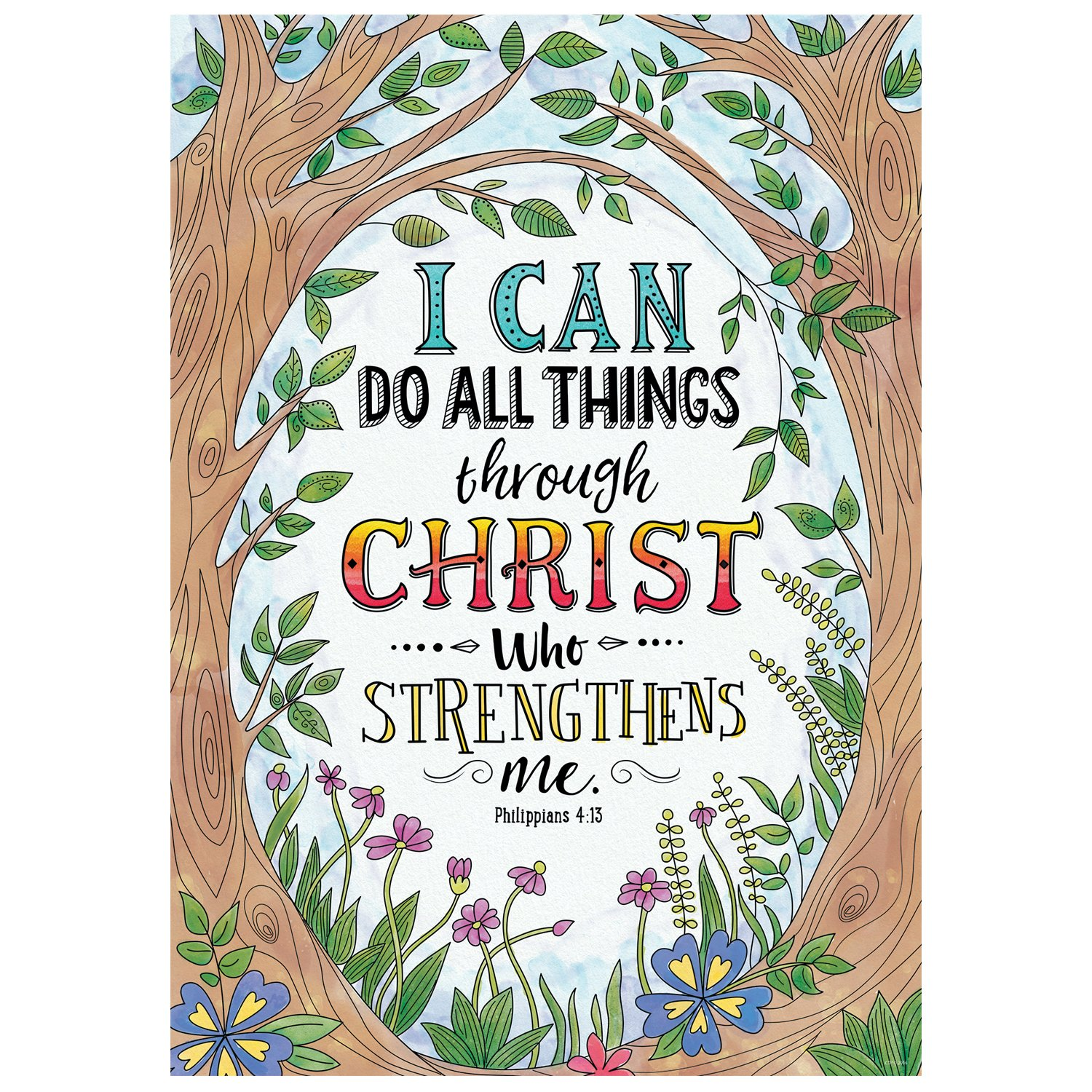 Creative Teaching Press Wall Décor, Religious Philippians 4:13 Rejoice Inspire U Poster (2311)