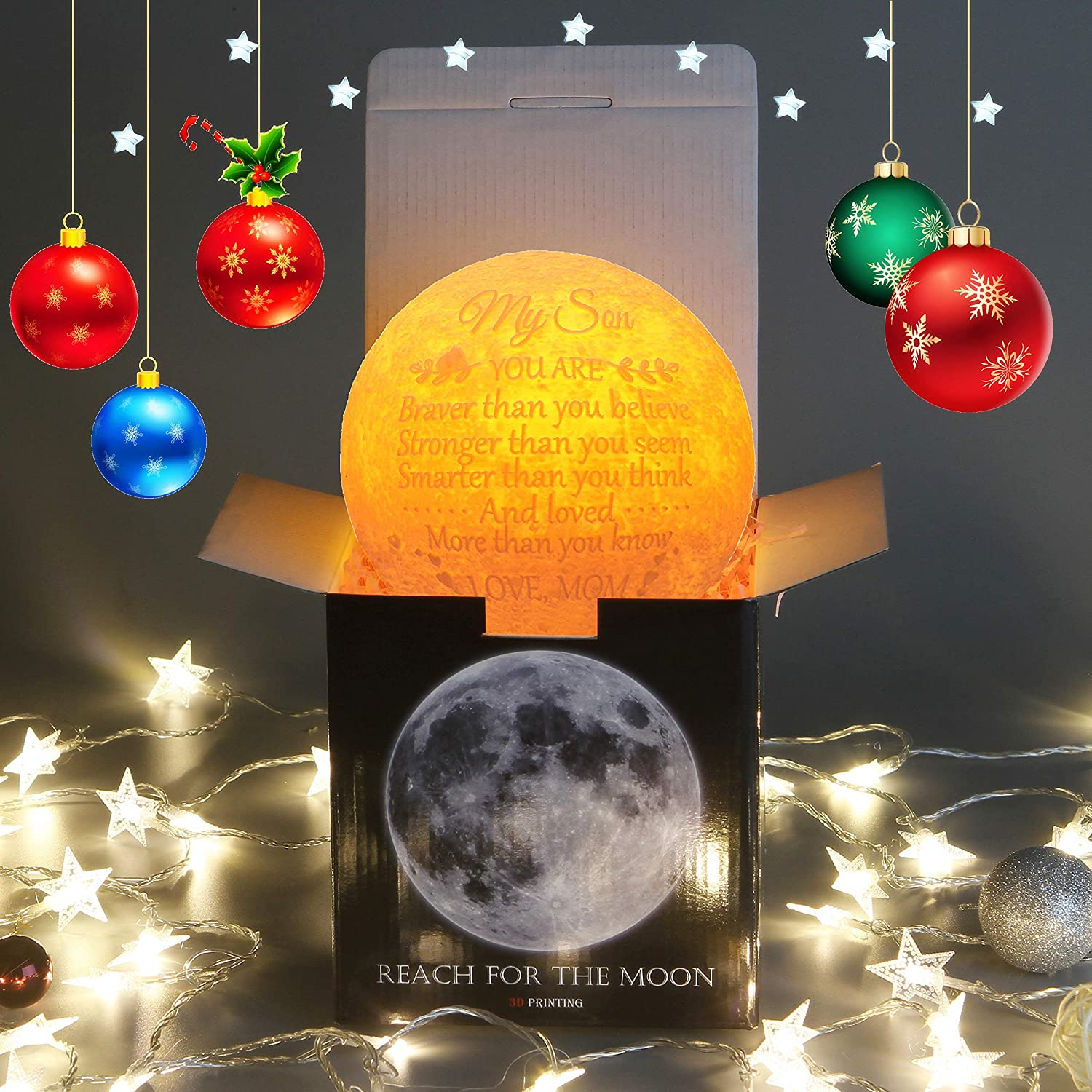 Personalized Gifts for Son Cool 3D Moon Lamp Large,Moon Led Light Gifts for Adult Son from Mom,Cute Desk Lamp for Bedroom Birthday Gifts for Men Son Kids