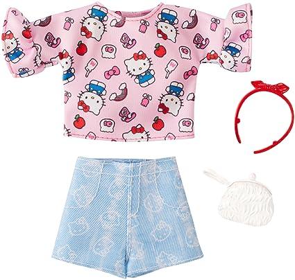 Amazon.com  Barbie Hello Kitty Pink Top and Blue Shorts Fashion Pack ... 990b9b532