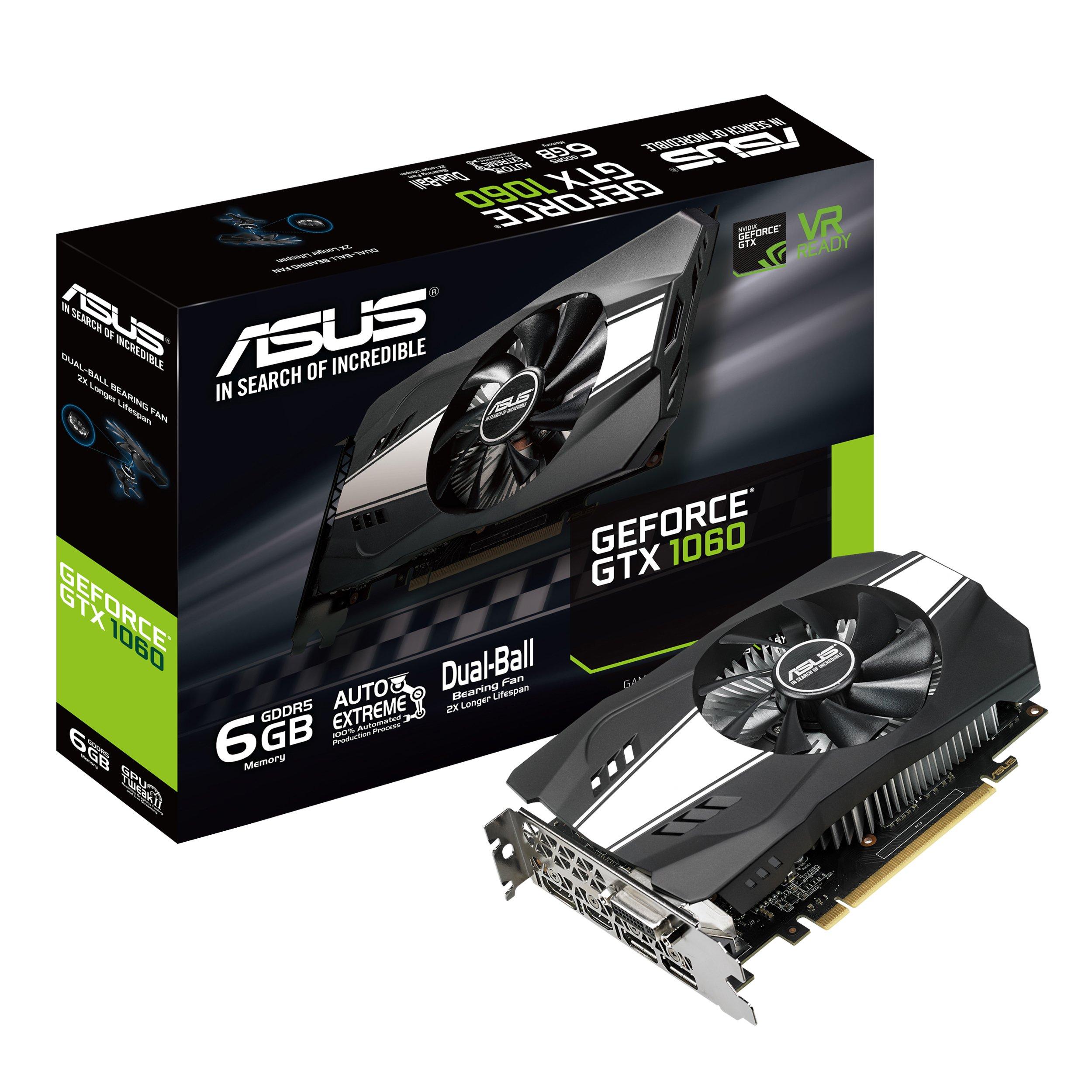 ASUS PH-GTX1060-6G Geforce 6GB Phoenix Fan Edition VR Ready HDMI DP DVI Graphics Card