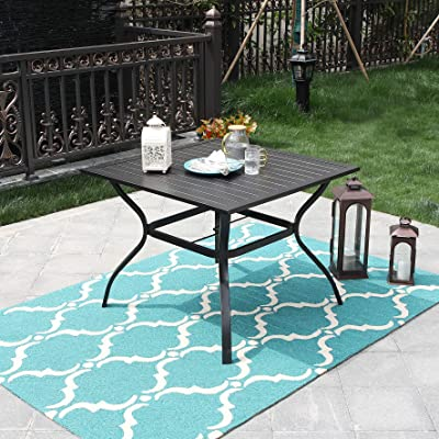 PHI VILLA Outdoor Patio Bistro Metal Steel Slat Dining Table