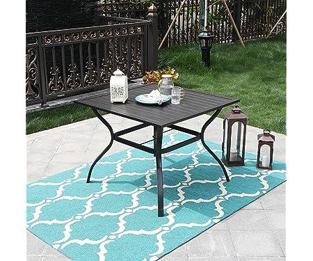 PHI VILLA Outdoor Patio Bistro Metal Steel Slat Dining Table