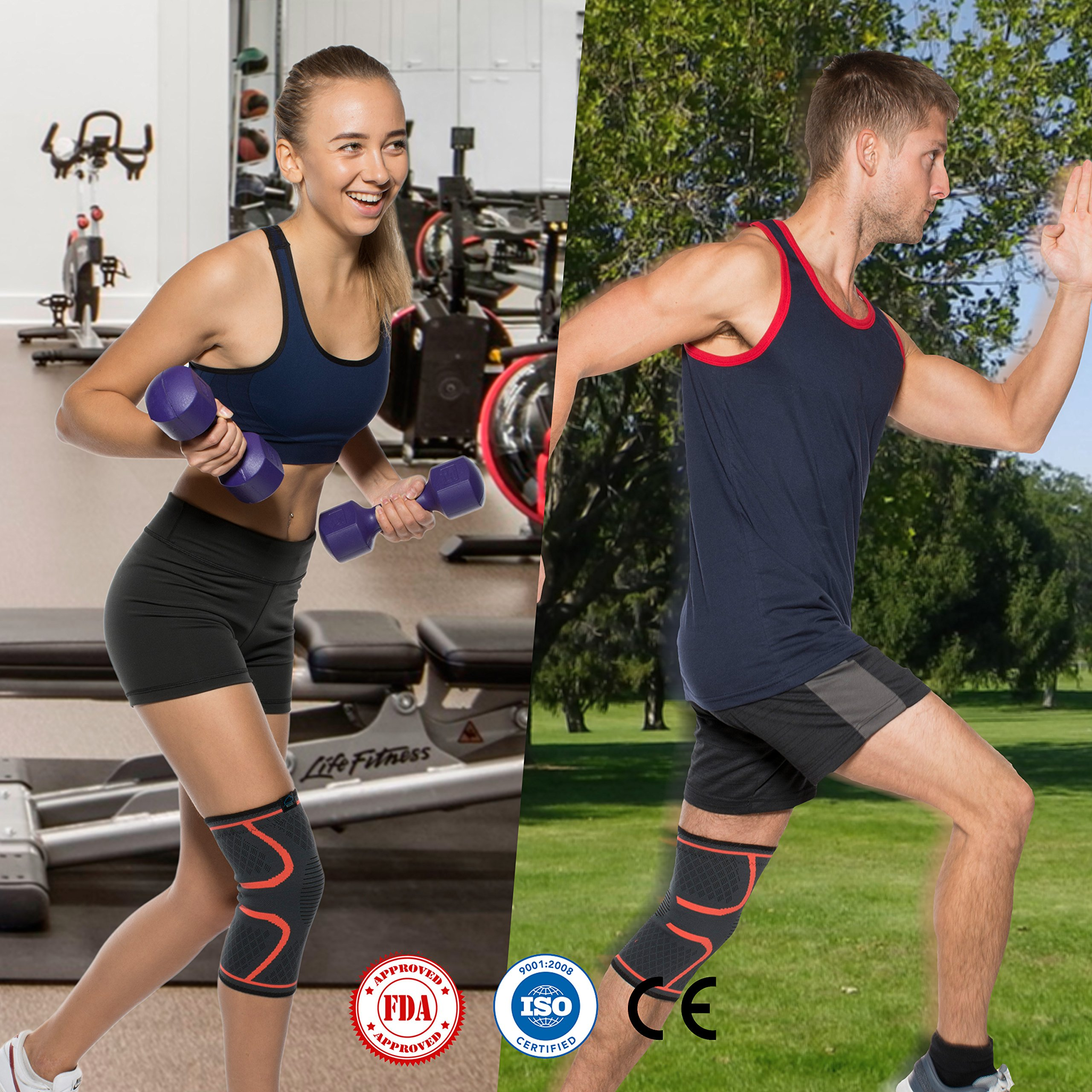 Modvel Compression Knee Sleeve (1 Pair) - Ultra Flexible, Comfortable Knee Brace for Men and Women, Great for All Athletics, Volleyball, ACL, Stabilizer for Arthritis and Knee Pain Relief, M (MV-111) by Modvel (Image #6)