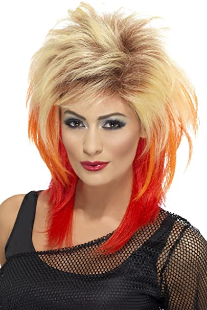Amazon.com  Smiffys Women s 80 s Blonde Mullet Wig with Red Streaks ... c30f8b174b