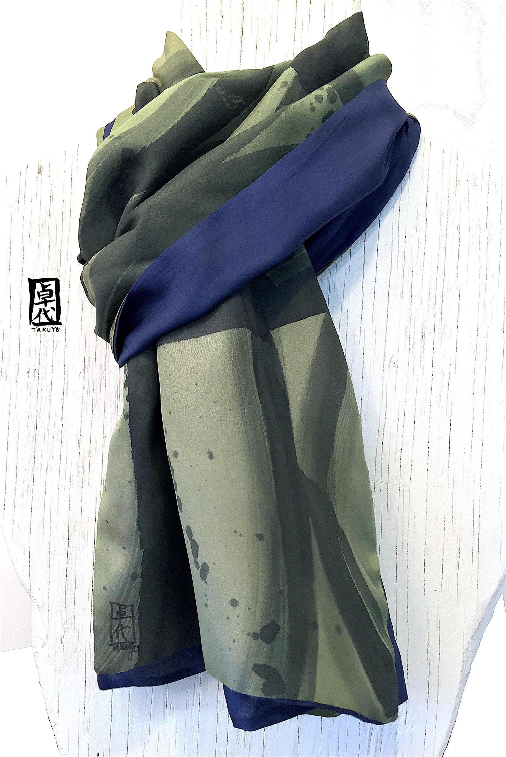Mens Silk Scarf, Green and Black Hand Painted Large Reversible Scarf, Zen Geometric,