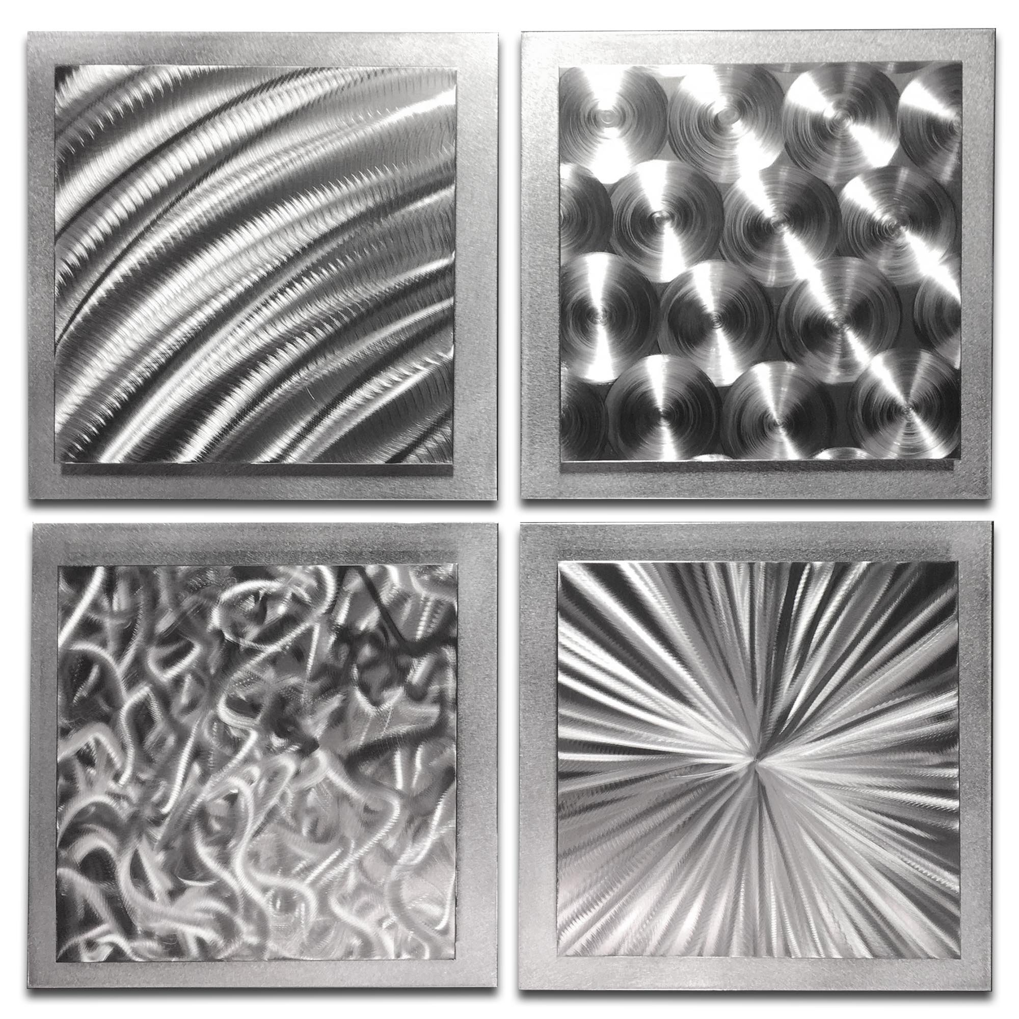 Abstract Metal Art 'Silver Seasons' by Nate Halley - Original Modern Wall Decor 3D Accent Sculpture on Natural Aluminum