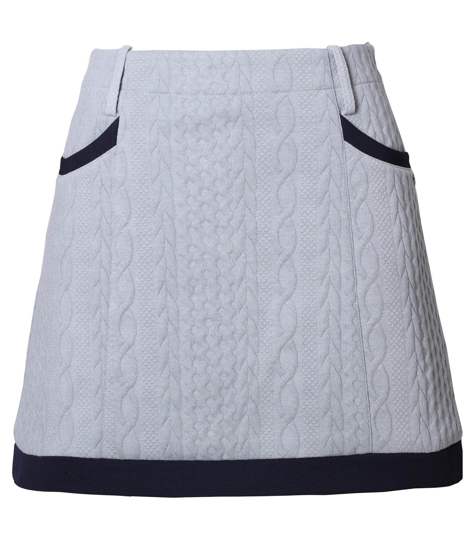 Women's Autumn Cable Knitted Golf Skorts A-line Quilted Casual Skirt Grey M
