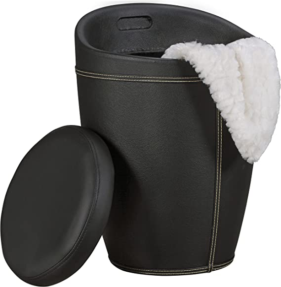 AMSTYLE Wäschebehälter LUCY Wäschekorb Farbe Schwarz Hocker mit Funktion Badhocker Bezug Kunstleder Sitzhocker 100 kg