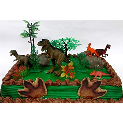 "Prehistoric T-Rex DINOSAUR 12 Piece Birthday CAKE Topper Set Featuring a T-Rex and 4 Random Dinosaur Figures, Themed Decorative Accessories, Dinosaurs Average 1/2"" to 4"" Inches Tall: Toys & Games"