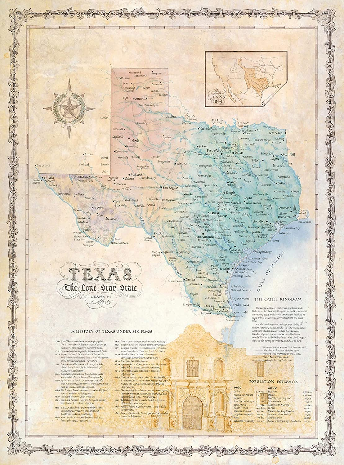 One Treasure Limited Antique Vintage Old World State Of Texas Usa Texas Map With The Alamo Wall Decor Posters Prints