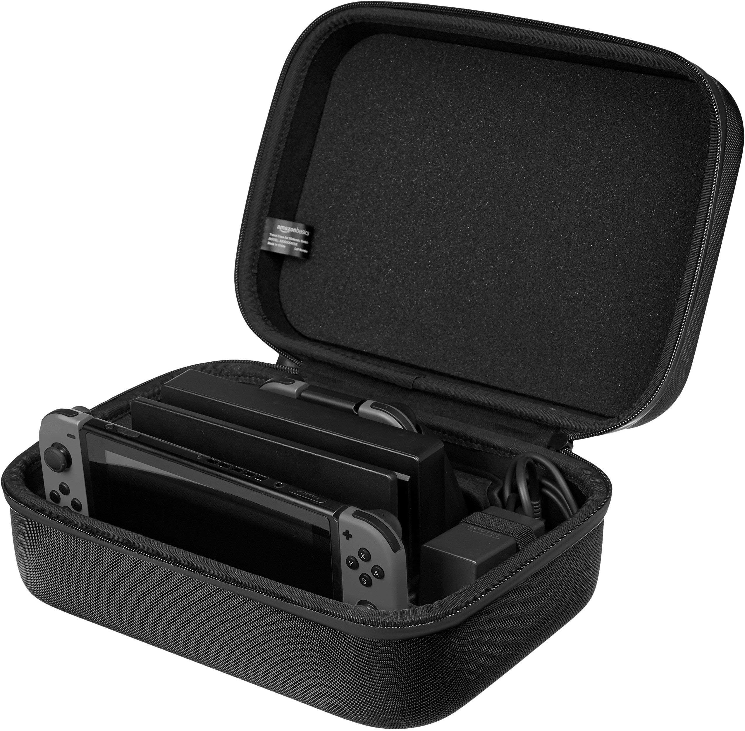 Amazon Basics Hard Shell Travel and Storage Case for Nintendo Switch - 12 x 4.8 x 9 Inches, Black