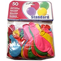 parquet de 50 ballons ronds standard couleurs assorties fête anniversaire déco.