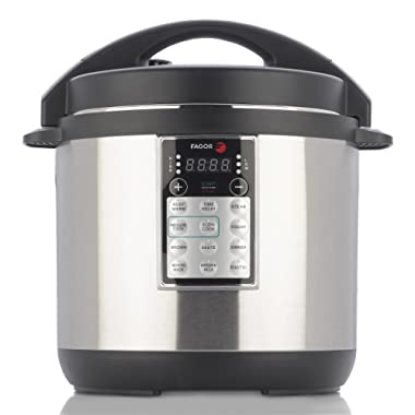 Fagor LUX Multi-Cooker, 8 quart, Electric Pressure Cooker, Slow Cooker, Rice Cooker, Yogurt Maker and more, Silver - 670041960