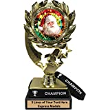 CHRISTMAS SANTA VOLLEYBALL TROPHY ACRYLIC *FREE ENGRAVING* 130mm 3 SIZES *NEW*
