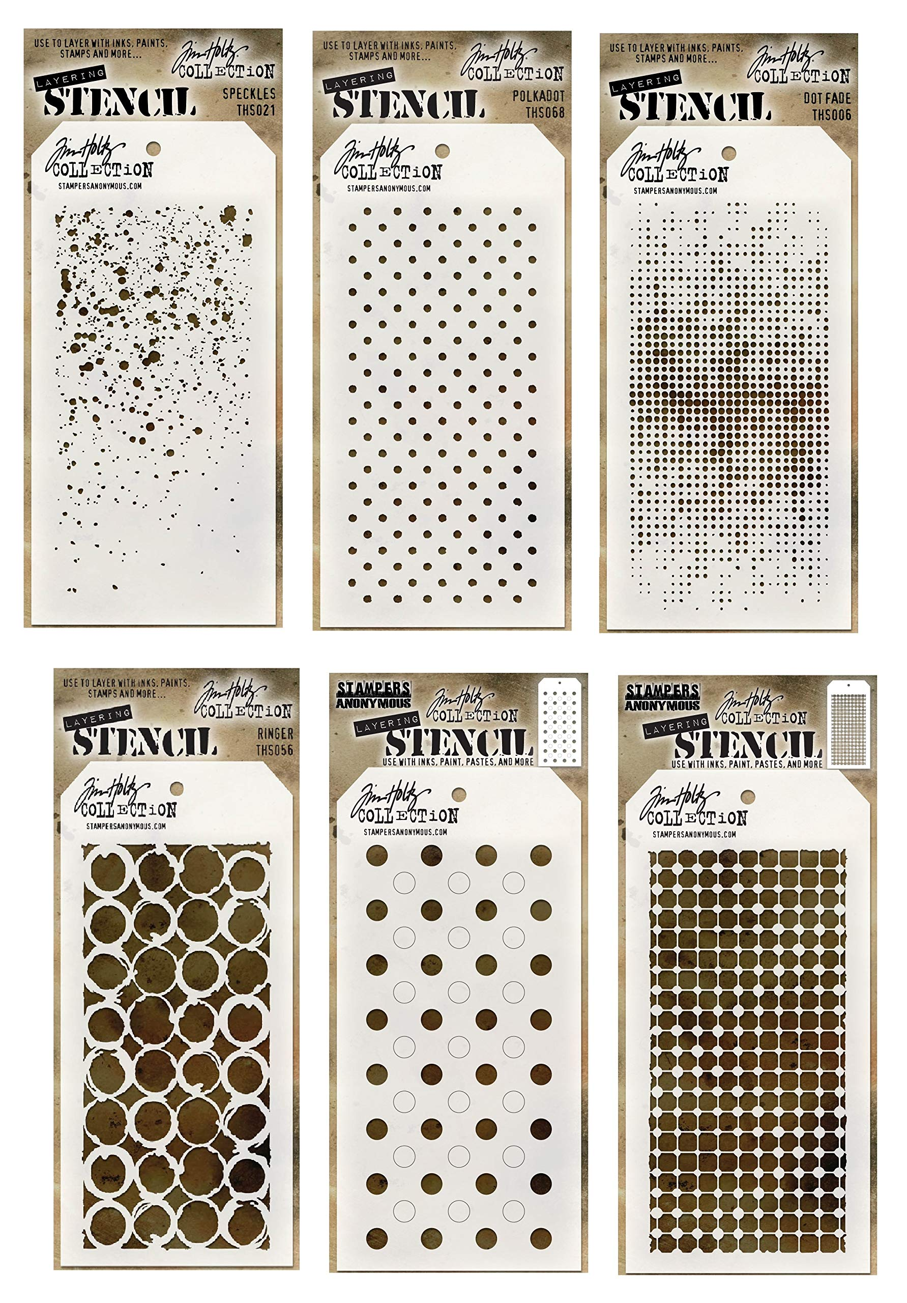 6 Tim Holtz Mixed Media Layered Stencils Set | Shifter Dots, Speckles, Polka Dot, Fade, Rings, Grid Designs | Templates for Arts, Card Making, Journaling, Scrapbooking | by Stampers Anonymous by Generic