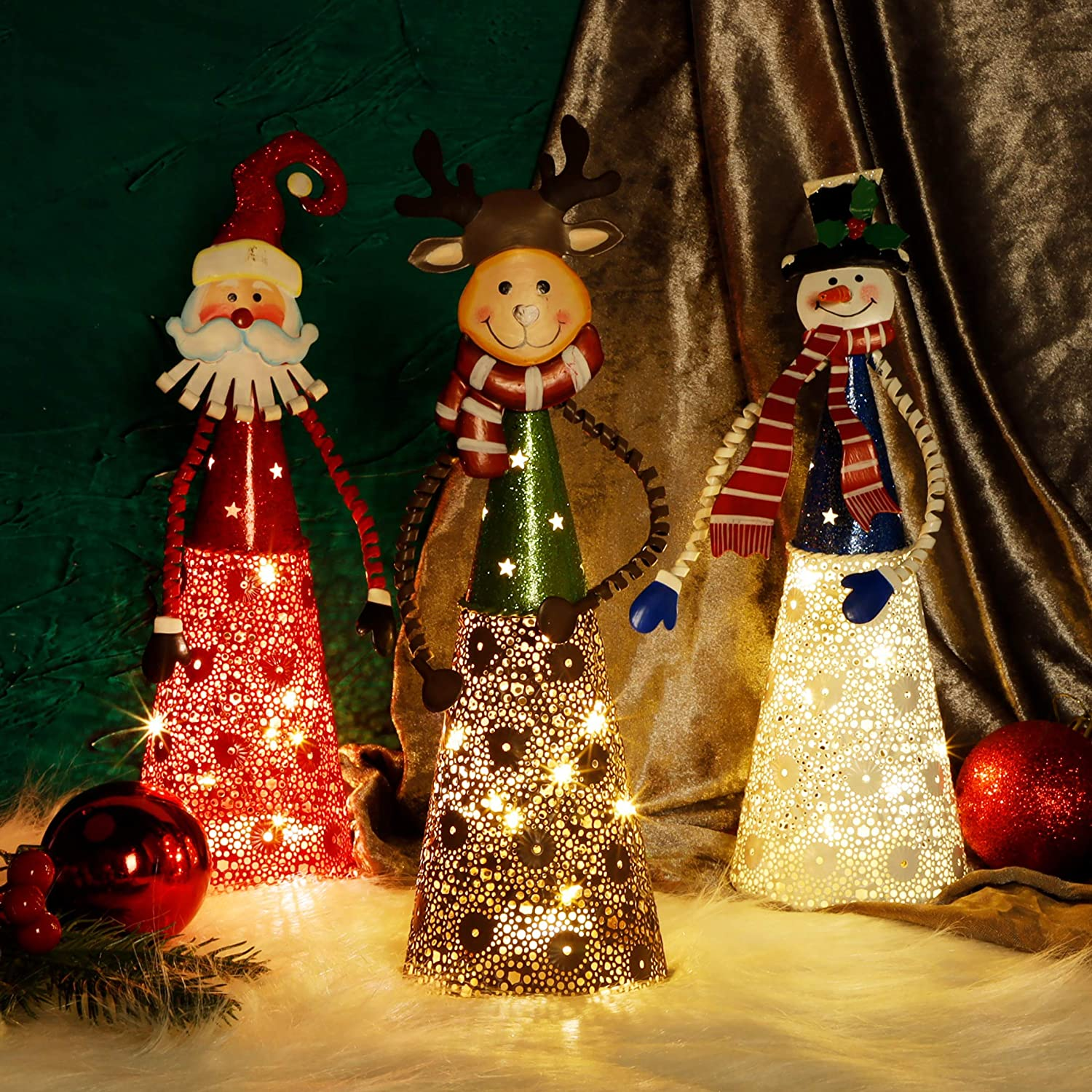 ATDAWN Lighted Christmas Table Decorations Set of 3 Indoor LED Lighting Santa Snowman Reindeer Xmas Holiday Party Tabletop Desk Ornament