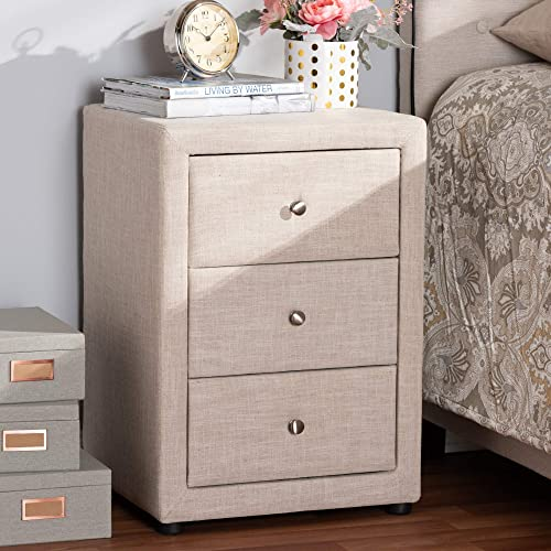 Baxton Studio Upholstered Nightstand with Drawer in Beige