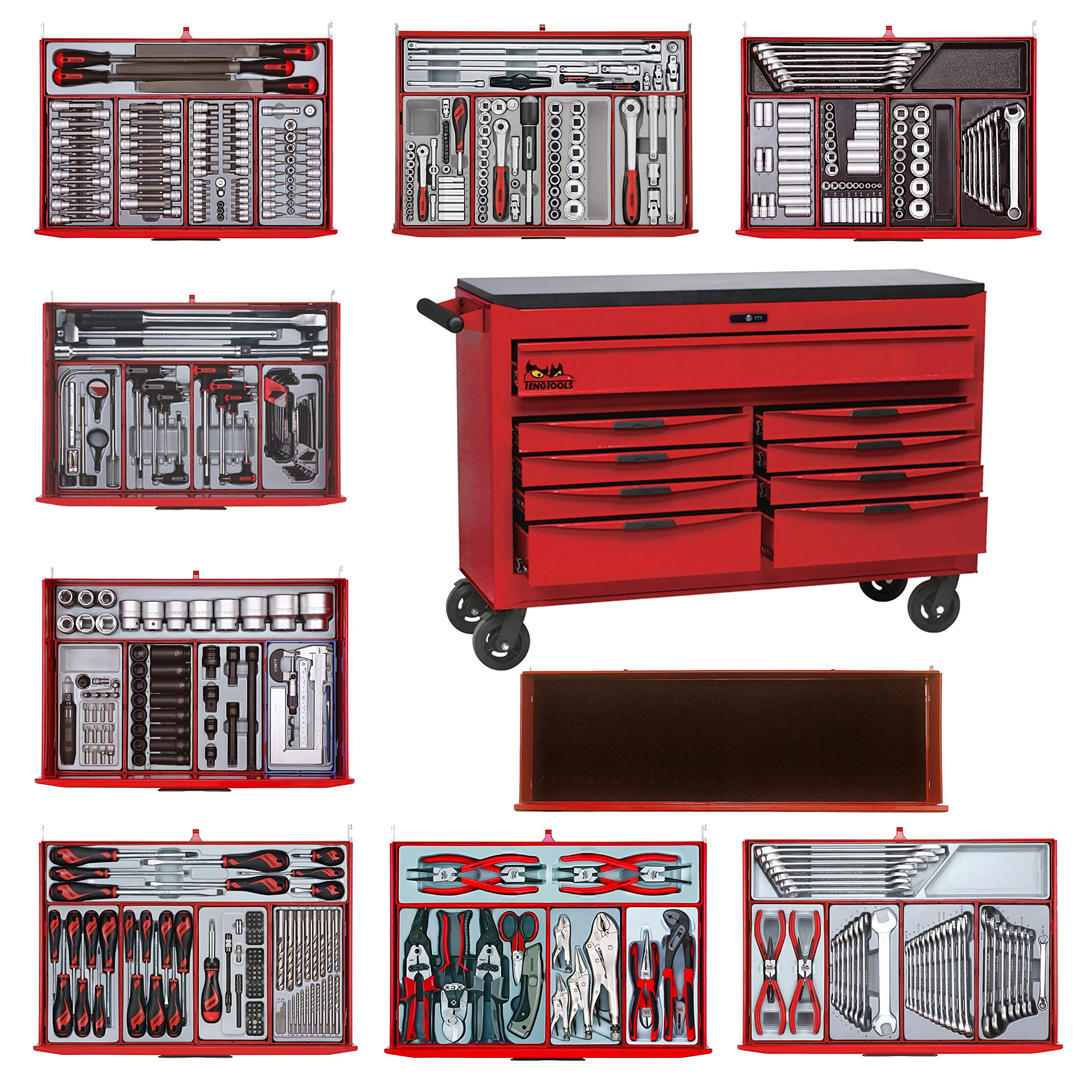 Teng Tools 569 Piece Complete Mixed Mega Master Hand Tool Kit with 53 Inch Wide Roller - TCMMIND08