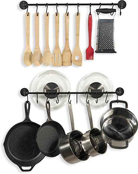 Amazon Com Wallniture Cucina 24 Wall Mount Kitchen Utensil Holder With 10 S Hooks For Hanging Pots And Pans Set Of 2 Black Kitchen Dining