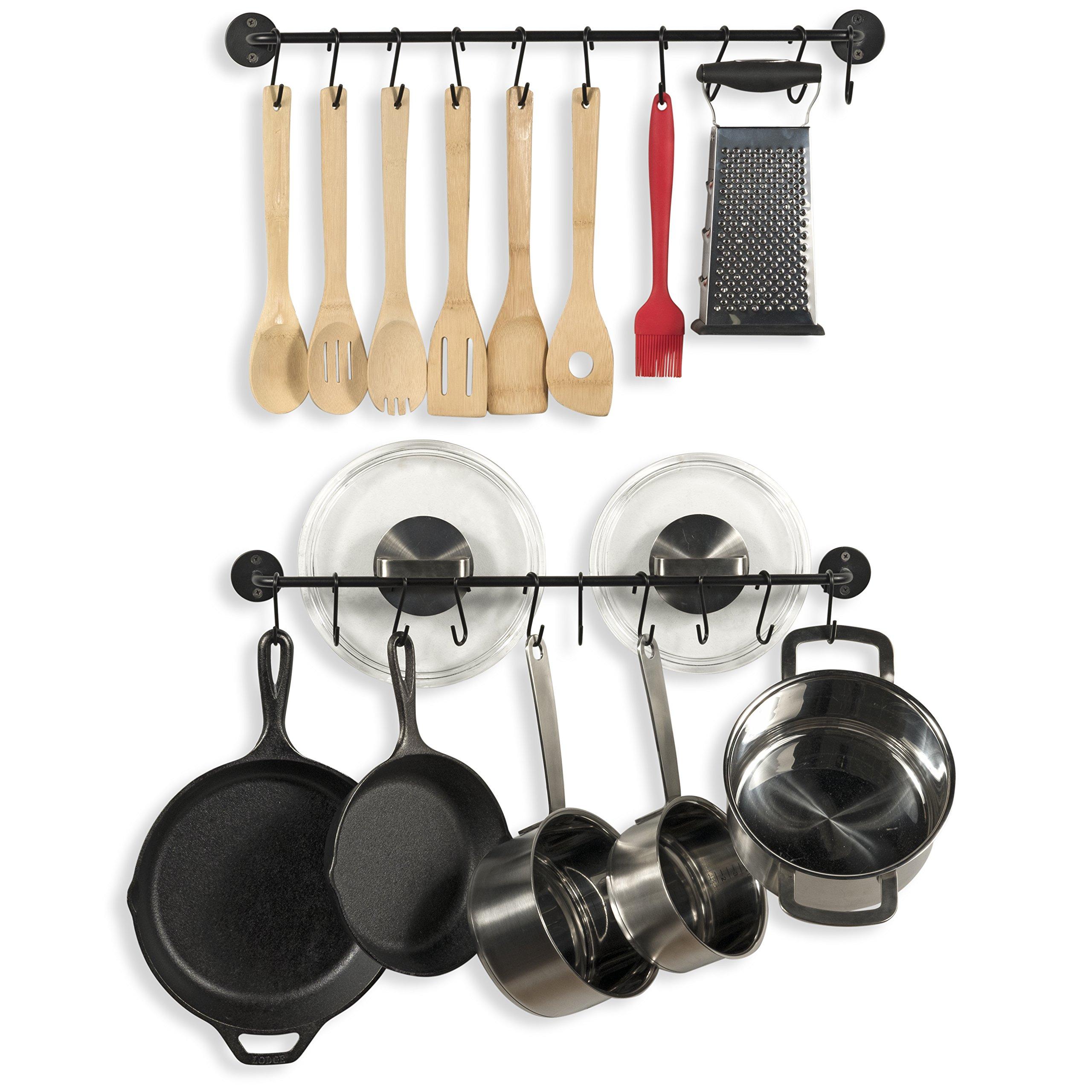 Wallniture Kitchen Pot Racks Set of 2 Wall Rails and 20 Hooks - Solid Steel - Hanging Utensil Organizer 24 Inch Black