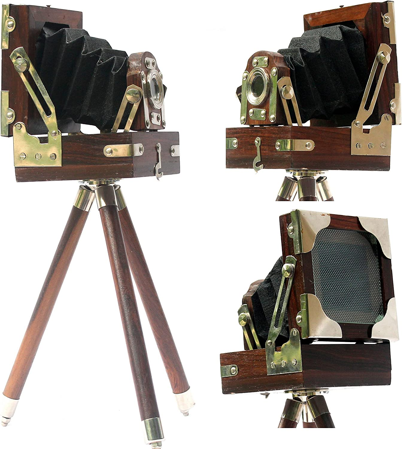 New Antique Vintage Look Film Camera Wooden Tripod Collectible Studio Gift Item Brown Color (10 Inches)