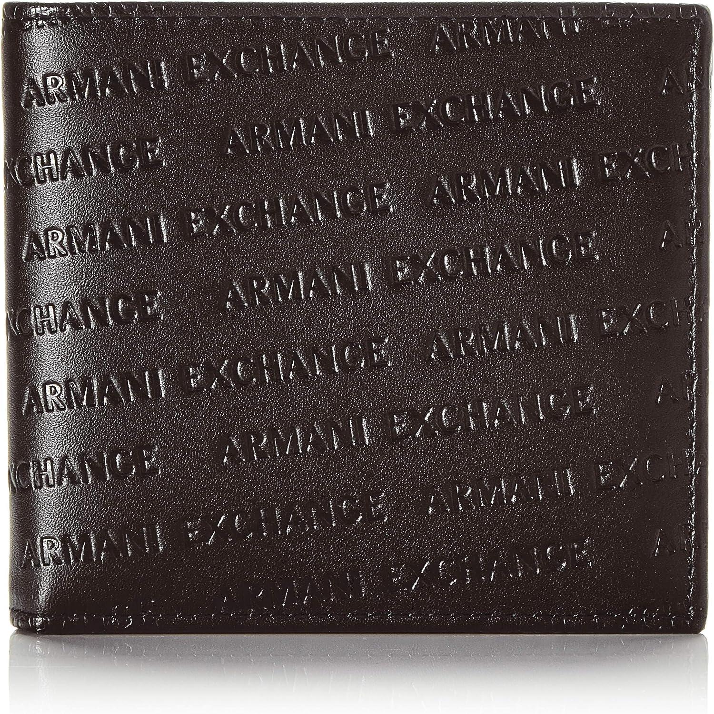 Armani Exchange Bifold W/Coin Pocket, Cartera doble para Hombre, Negro, Einheitsgröße