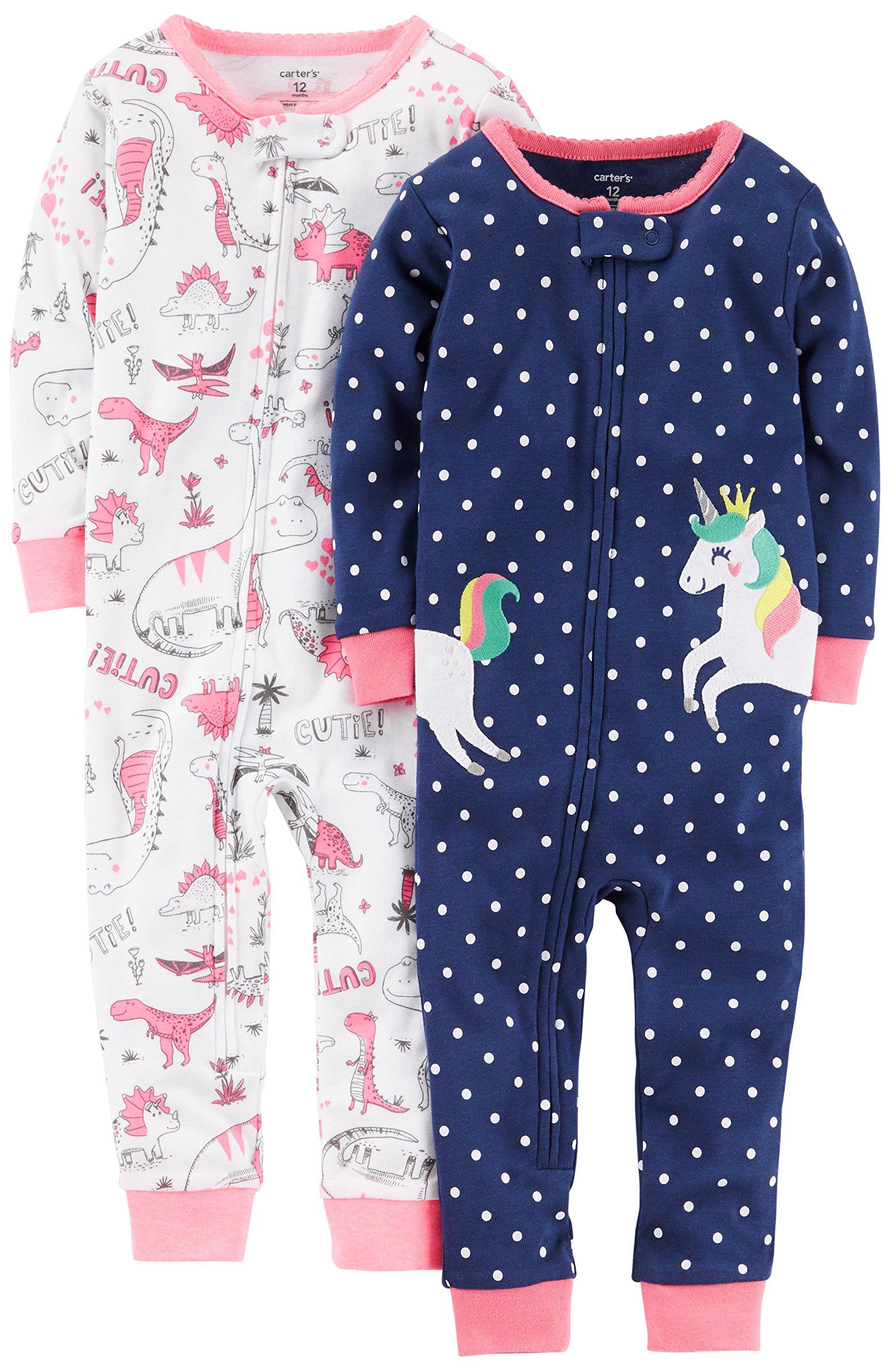 Carter's Baby Girls' 2-Pack Cotton Footless Pajamas, Unicorn/Dino, 18 Months