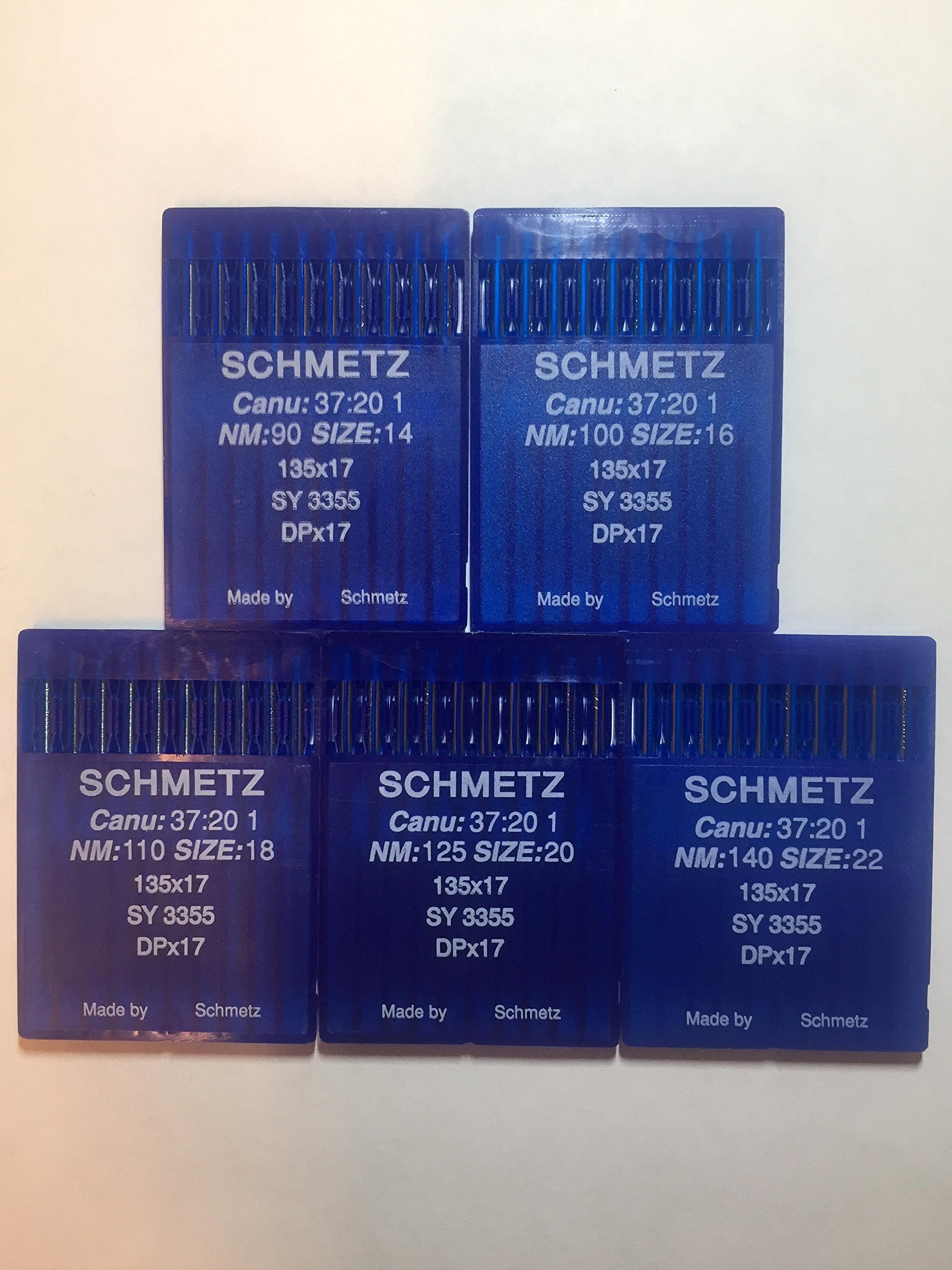 SCHMETZ 50pcs Size 14 16 18 20 22 135x17 DPx17 Walking Foot Sewing Machine Needle by Schmetz