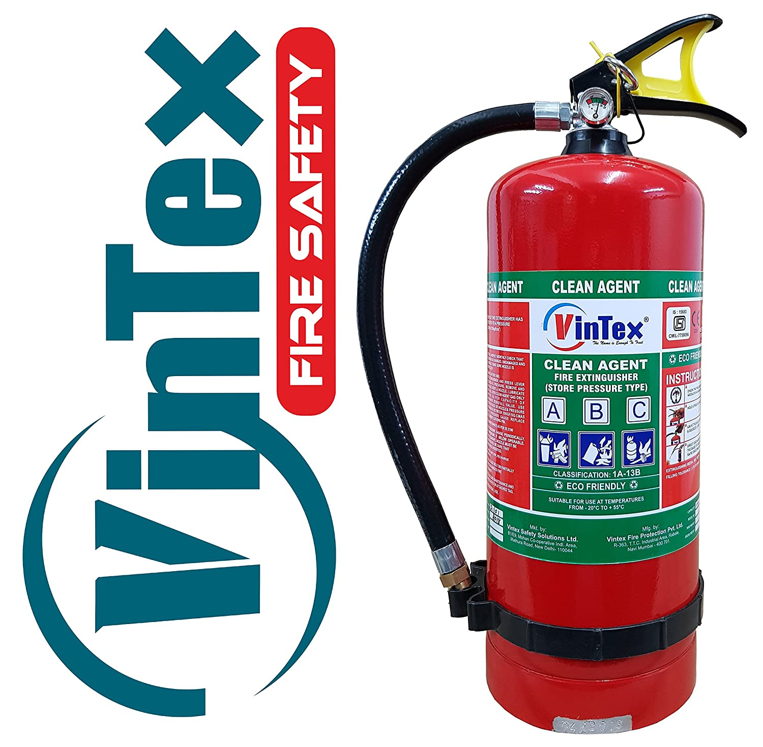 Vintex 4 Kg. Clean Agent Gas Based Eco Friendly Fire Extinguisher ...