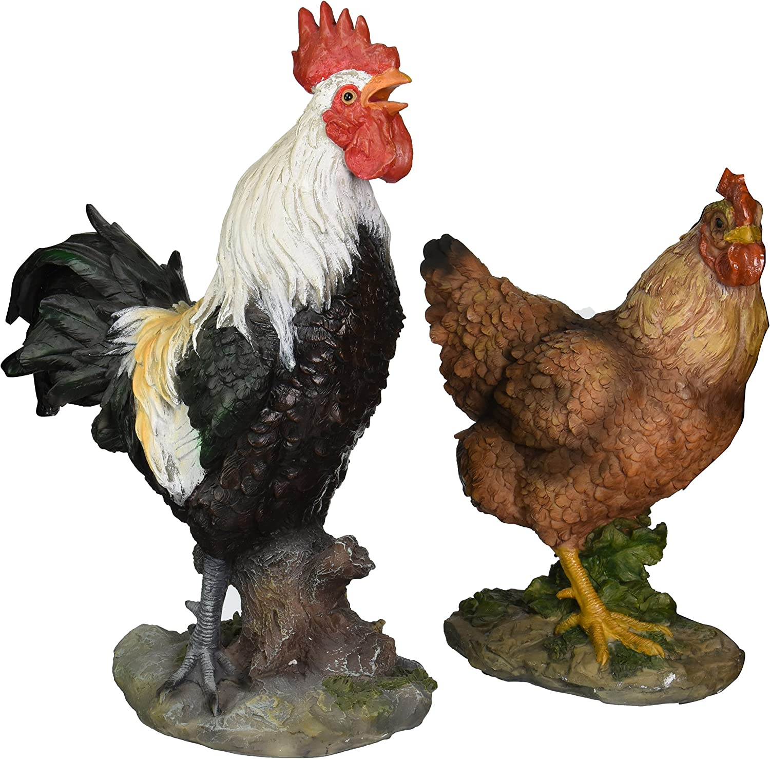 Design Toscano Henrietta the Hen and Cock-A-Doodle-Do Rooster Statue Set, Multicolored