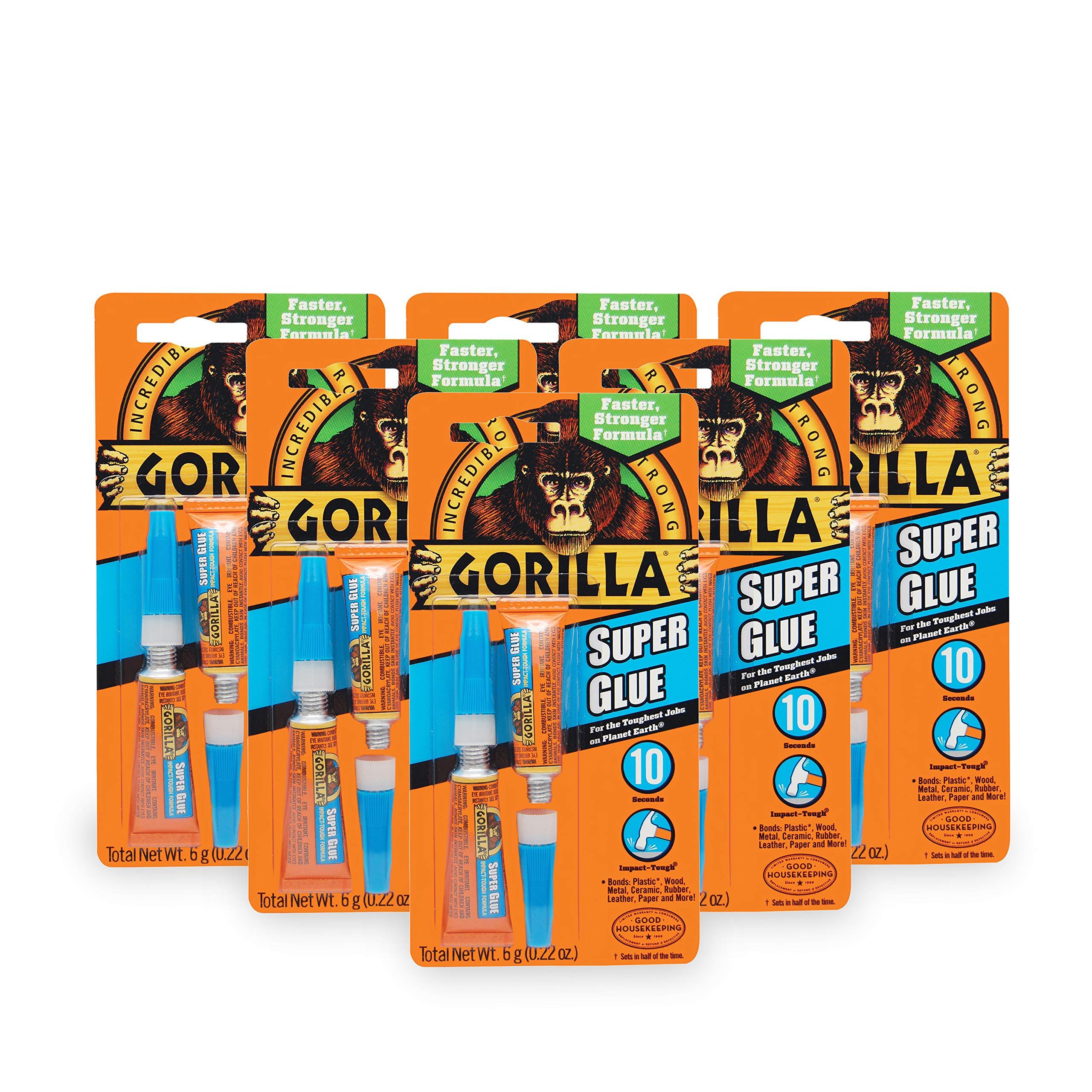 Gorilla Super Glue, 6 g, Clear, (6 Pack)