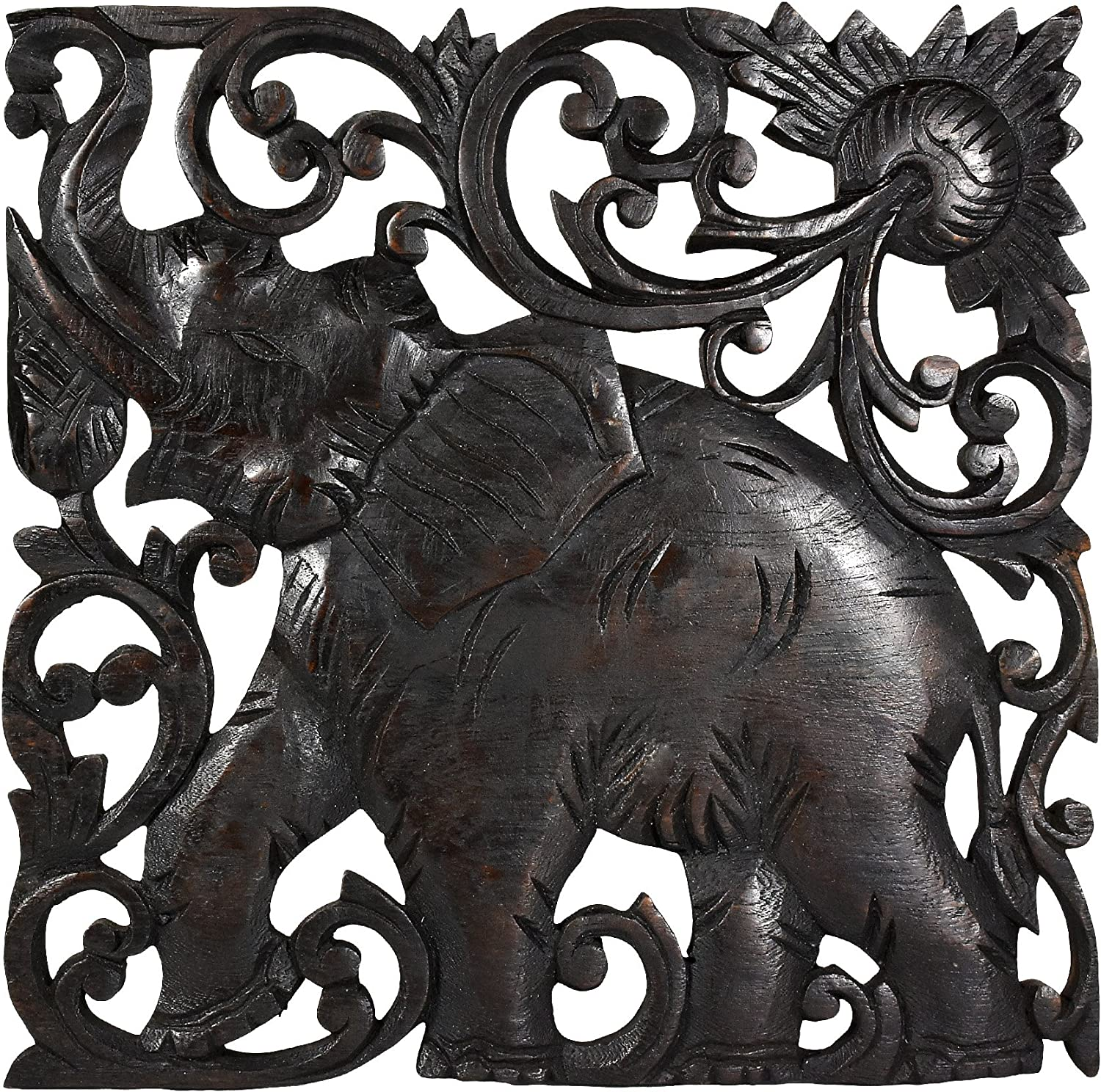 Victorious Elephant Hand Carved Square Teak Wood Wall Art 10inch