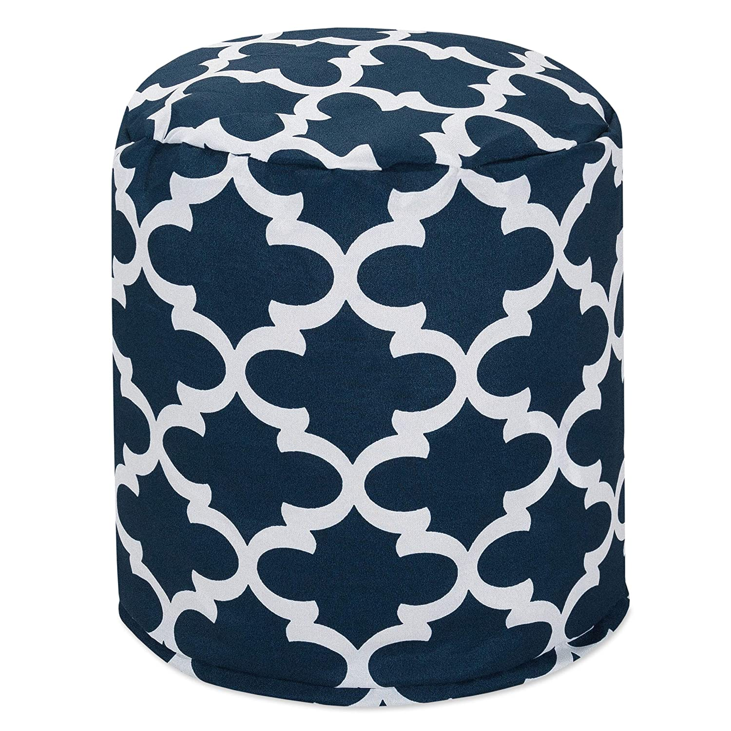 "Majestic Home Goods Navy Trellis Indoor/Outdoor Bean Bag Ottoman Pouf 16"" L x 16"" W x 17"" H"