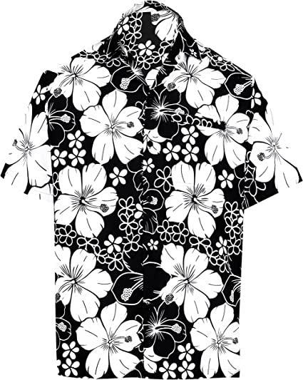 LA LEELA Men's Relaxed Hawaiian Shirt for Boys Button Down Up Shirt Printed C