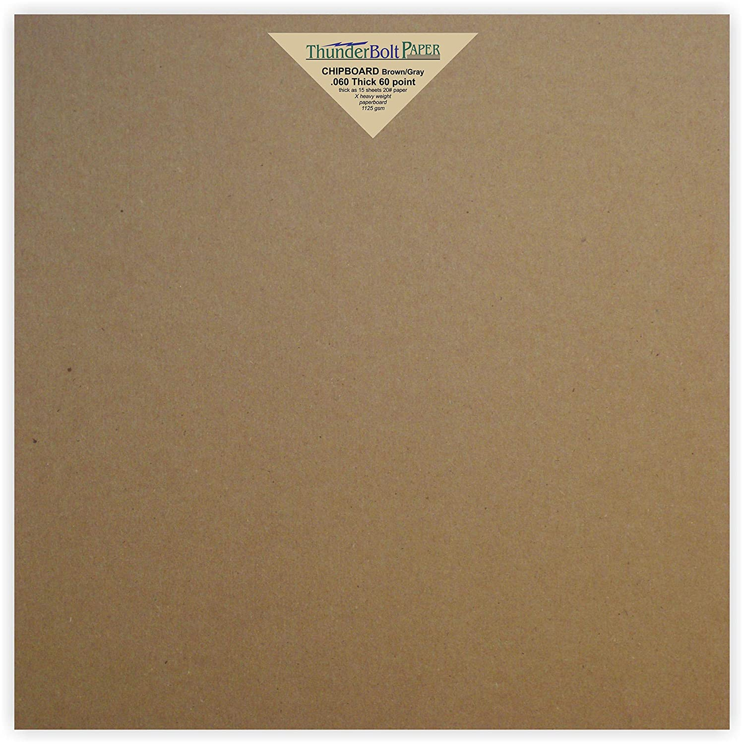 12 Sheets Brown/Gray Chipboard 60 Point Extra Thick 12 X 12 (12X12 Inches) Scrapbook Album|Cover Size .060 Caliper Extra X Heavy Cardboard as Thick as 15 Sheets 20# Paper TBP