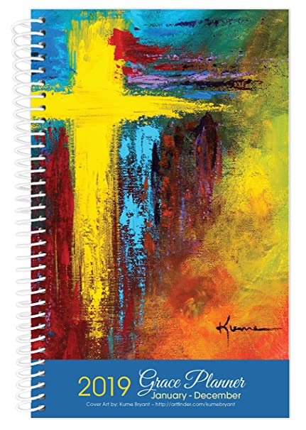 2019 cross art inspirational christian daily planner january to december year day planners weekly monthly calendar